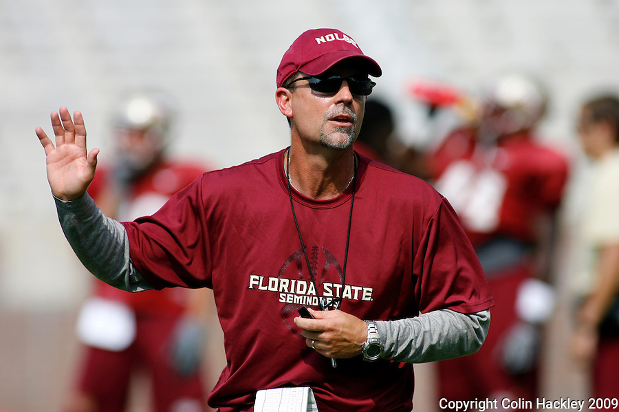 TALLAHASSEE, FL 8/8/10-FSU-080810 CH-Florida State Running Backs and Special Teams Coach Eddie Gran during practice Sunday in Tallahassee. .COLIN HACKLEY PHOTO