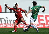 Fussball 1. Bundesliga :  Saison   2012/2013   1. Spieltag  25.08.2012 SpVgg Greuther Fuerth - FC Bayern Muenchen Xherdan Shaqiri (li, FC Bayern Muenchen) gegen Stephan Fuerstner (Greuther Fuerth)