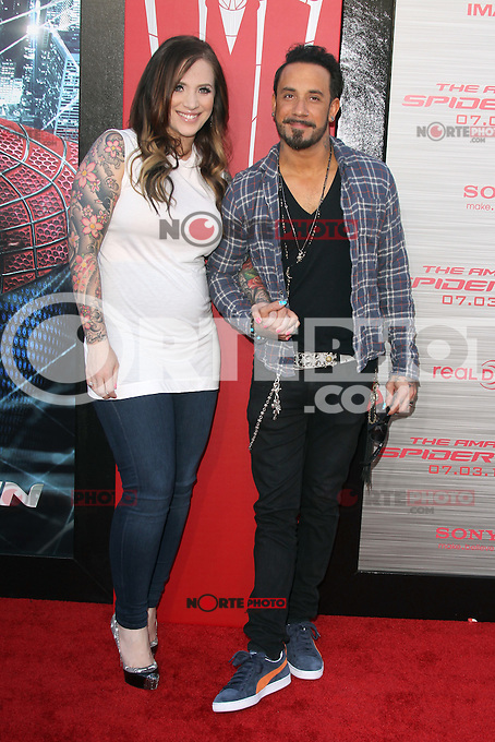 Rochelle Karidis and A.J. McLean at the premiere of Columbia Pictures' 'The Amazing Spider-Man' at the Regency Village Theatre on June 28, 2012 in Westwood, California. &copy; mpi22/MediaPunch Inc. *NORTEPHOTO.COM*<br /> **CREDITO*OBLIGATORIO** *No*Venta*A*Terceros* *No*Sale*So*third* *No*Se *Permite*Hacer*Archivo**
