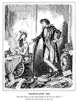 """Transatlantic Tiff. """"Now look, honey, if I am a little irritable, it's all over in a minute!!"""" (After John Leech, Punch, November 11th, 1848, p204)"""