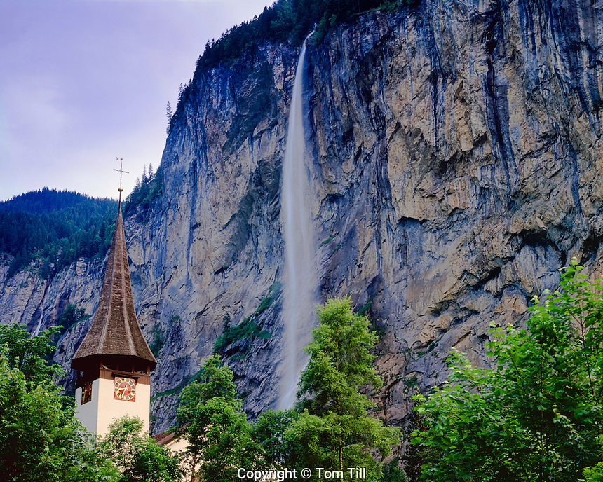 Lauterbrunnen Waterfall, Lauterbrunnen Valley, Switzerland, Berner Oberland Region, 1,000 foot waterfall, seen from Lauterbrunnen village