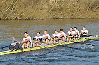 155 SEN.8+ Molesey BC..Reading University Boat Club Head of the River 2012. Eights only. 4.6Km downstream on the Thames form Dreadnaught Reach and Pipers Island, Reading. Saturday 25 February 2012.