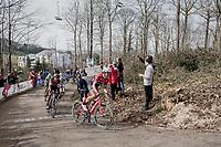 Edward Theuns (BEL/Trek-Segafredo) ahead of Greg Van Avermaet (BEL/BMC) up the Baneberg<br /> <br /> 79th Gent-Wevelgem 2017 (1.UWT)<br /> 1day race: Deinze &rsaquo; Wevelgem - BEL (249km)