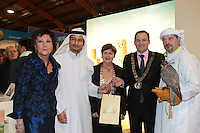 NO FEE PICTURES.25/1/13 Maureen Ledwith, Director Holiday World, Lord Mayor of Dublin is Naoise Ó Muirí and Clare Dunne, President ITAA with Uabeel Mohmoud Al Zarouni and Trevor Roche at the Holiday World Show at the RDS, Dublin. Picture:Arthur Carron/Collins