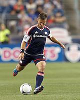 New England Revolution defender Flo Lechner (2) passes the ball. In a Major League Soccer (MLS) match, the New England Revolution tied Philadelphia Union, 0-0, at Gillette Stadium on September 1, 2012.