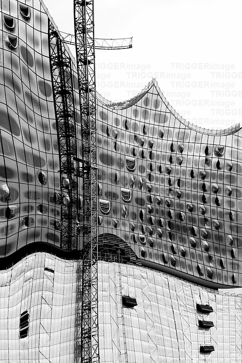 The modern facade and the construction of the Elbe Philharmonic Hall in Hamburg.
