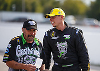 Sep 25, 2016; Madison, IL, USA; NHRA pro stock driver Alex Laughlin (right) and crew member celebrates after winning the Midwest Nationals at Gateway Motorsports Park. Mandatory Credit: Mark J. Rebilas-USA TODAY Sports