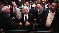Former Green Bay Packers Fuzzy Thurston, at left, and Marv Fleming at right with  Vince Lombardi Jr. in the center at the Lombardi players reunion at Lombardi's Steakhouse in Appleton, Wisconsin in September of 2001.