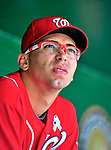 20 June 2010: Washington Nationals' pitcher Luis Atilano watches from the dugout during a game against the Chicago White Sox at Nationals Park in Washington, DC. The Nationals were swept by the White Sox falling 6-3 in the last game of their 3-game interleague series. Mandatory Credit: Ed Wolfstein Photo