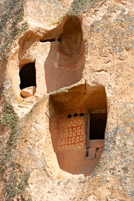 Traditional decorations outside the rock houses of Uchisar, Cappadocia Turkey