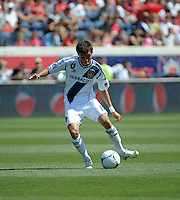 LA Galaxy midfielder Hector Jimenez (16) makes a pass.  The LA Galaxy defeated the Chicago Fire 2-0 at Toyota Park in Bridgeview, IL on July 8, 2012.