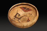 Clay bowl with painted decoration inside, 1400-1625, by a Kawaikuh artist, on loan from the University of Colorado Museum of Natural History, at the Denver Art Museum, Denver, Colorado, USA. Picture by Manuel Cohen