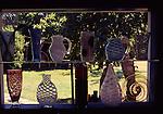 Glass artwork in window on Orcas island