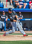 7 March 2016: Miami Marlins infielder Tommy Medica doubles in the 4th inning during a Spring Training pre-season game against the Washington Nationals at Space Coast Stadium in Viera, Florida. The Nationals defeated the Marlins 7-4 in Grapefruit League play. Mandatory Credit: Ed Wolfstein Photo *** RAW (NEF) Image File Available ***