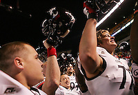 PITTSBURGH, PA - NOVEMBER 05:  Sean Hooey #77 of the Cincinnati Bearcats celebrates with his teammates following their win against the Pittsburgh Panthers on November 5, 2011 at Heinz Field in Pittsburgh, Pennsylvania.  (Photo by Jared Wickerham/Getty Images)
