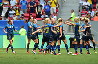 Brasilia, Brazil - Friday, August 12, 2016: The USWNT go down to Sweden 0-1 in second half action during Quarterfinal play during the 2016 Olympics at Mane Garrincha Stadium.