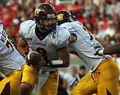Central Michigan quarterback Ryan Radcliff prepares to pass the ball. NC State defeated Central Michigan 38-24 on Saturday, October 8, 2011 at Carter-Finley Stadium in Raleigh. Photo by Al Drago.