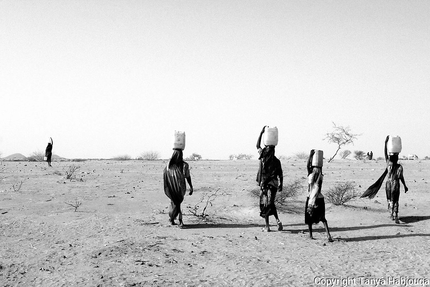 Refugees from Darfur often walk for miles seeking water, with diminishing resources in Chad pushing the host country to the edge.