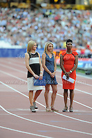 3 of the Lady tv commentators at the Sainsbury Anniversary Games, Olympic Stadium, London England, Friday 26th July 2013-Copyright owned by Jeff Thomas Photography-www.jaypics.photoshelter.com-07837 386244. No pictures must be copied or downloaded without the authorisation of the copyright owner.