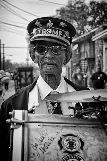 """Uncle"" Lionel Batiste of the Treme Brass Band on the set of HBO's ""TREME"" (The Pilot) on 31 March 2009 in New Orleans, Louisiana. USA."
