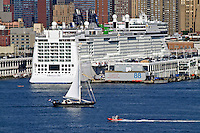 Sailboat, Norwegian Epic Cruise Ship, Manhattan Cruise Terminal, New York City, New York, USA