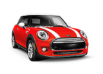 Red 2014 Mini Cooper Hardtop compact city car isolated on white background with clipping path