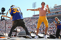 091816 Los Angeles, CA: Anthony Kiedis, Flea,Josh Klinghoffer  and Chad Smith of  The Red hot Chili Peppers perform at the Los Angeles Memorial Coliseum before the Los Angeles Rams 2016 home opener
