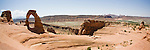 Panoramic view of Delicate Arch in Arches National Park, near Moab Utah.