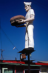 Giant advertising figure over hamburger stand on the PCH in Malibu, CA