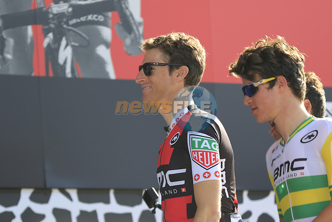 Martin Elmiger (SUI) and Miles Scotson (AUS) BMC Racing Team at sign on for the 115th edition of the Paris-Roubaix 2017 race running 257km Compiegne to Roubaix, France. 9th April 2017.<br /> Picture: Eoin Clarke | Cyclefile<br /> <br /> <br /> All photos usage must carry mandatory copyright credit (&copy; Cyclefile | Eoin Clarke)