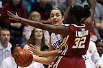 17 December 2014: Duke's Rebecca Greenwell (in white) and Oklahoma's LaNesia Williams (32). The Duke University Blue Devils hosted the University of Oklahoma Sooners at Cameron Indoor Stadium in Durham, North Carolina in a 2014-15 NCAA Division I Women's Basketball game. Duke won the game 92-72.