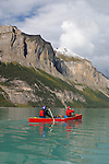 Trent and Linda Enzsol paddle a Wenonah Escape on Maligne Lake in Jasper National Park, Alberta, Canada.