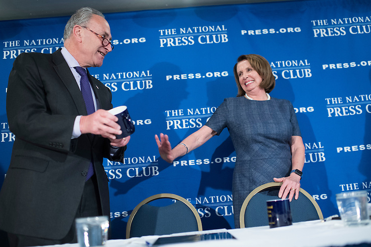 UNITED STATES - FEBRUARY 27: House Minority Leader Nancy Pelosi, D-Calif., and Senate Minority Leader Charles Schumer, D-N.Y., deliver a prebuttal at the National Press Club to tomorrow's address to a joint session of Congress by President Donald Trump, February 27, 2017. (Photo By Tom Williams/CQ Roll Call)