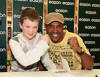 NO FEE PICTURES.16/3/12 Ian Fox, age 11, Trim pictured today is Sugar Ray Leonard, one of the greatest fighters of the last fifty years will be in Eason, O Connell Street signing copies of his new autobiography ,  The Big Fight .  Leonard s book is unflinchingly honest which reveals the true story of an Olympic hero and world champion.  He tells of the gruelling workouts, the fierce competition, and the notorious corruption he encountered within the sport as he battled to become a champion.  Picture:Arthur Carron/Collins