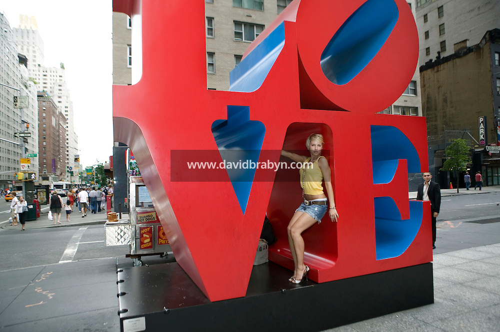 Model, TV personality and yoga teacher Aria Crescendo visits New York City, USA, 19 August 2006.