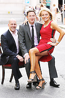 19/8/2010. TV3 SEASON LAUNCH. Brian Purcell from The Apprentice, Ray Foley and Jackie Lavin  are pictured on Kildare St Dublin for the launch of the TV3 Autumn season. Picture James Horan/Collins Photos.