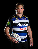 David Wilson of Bath Rugby poses for a portrait in the 2015/16 home kit during a Bath Rugby photocall on December 1, 2015 at Farleigh House in Bath, England. Photo by: Patrick Khachfe / Onside Images