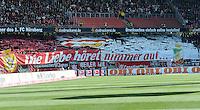 FUSSBALL   1. BUNDESLIGA  SAISON 2011/2012   10. Spieltag 1 FC Nuernberg - VfB Stuttgart         22.10.2011 Stuttgart  Fankurve mit einem Banner  DIE LIEBE HOERET NIMMER AUF