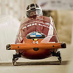 8 January 2016: An Vannieuwenhuyse, piloting her 2-man bobsled for Belgium, enters the Chicane straightaway on her second run, ending the day with a combined 2-run time of 1:55.08 and earning a 6th place finish at the BMW IBSF World Cup Championships at the Olympic Sports Track in Lake Placid, New York, USA. Mandatory Credit: Ed Wolfstein Photo *** RAW (NEF) Image File Available ***