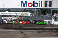 Start of the 12 Hours of Sebring, Sebring International Raceway, Sebring, FL, March 2015.  (Photo by Brian Cleary/ www.bcpix.com )