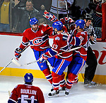 11 November 2008: Montreal Canadiens' left wing forward Christopher Higgins (left) celebrate scoring his third goal making a hat-trick in the third period against the Ottawa Senators at the Bell Centre, in Montreal, Quebec, Canada. The Canadiens shut out the Senators 4-0 as the Habs celebrate their 100th Season...Mandatory Photo Credit: Ed Wolfstein Photo *** Editorial Sales through Icon Sports Media *** www.iconsportsmedia.com