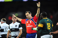 Referee Mike Fraser awards a penalty to South Africa. Killik Cup International match, between the Barbarians and South Africa on November 5, 2016 at Wembley Stadium in London, England. Photo by: Patrick Khachfe / JMP