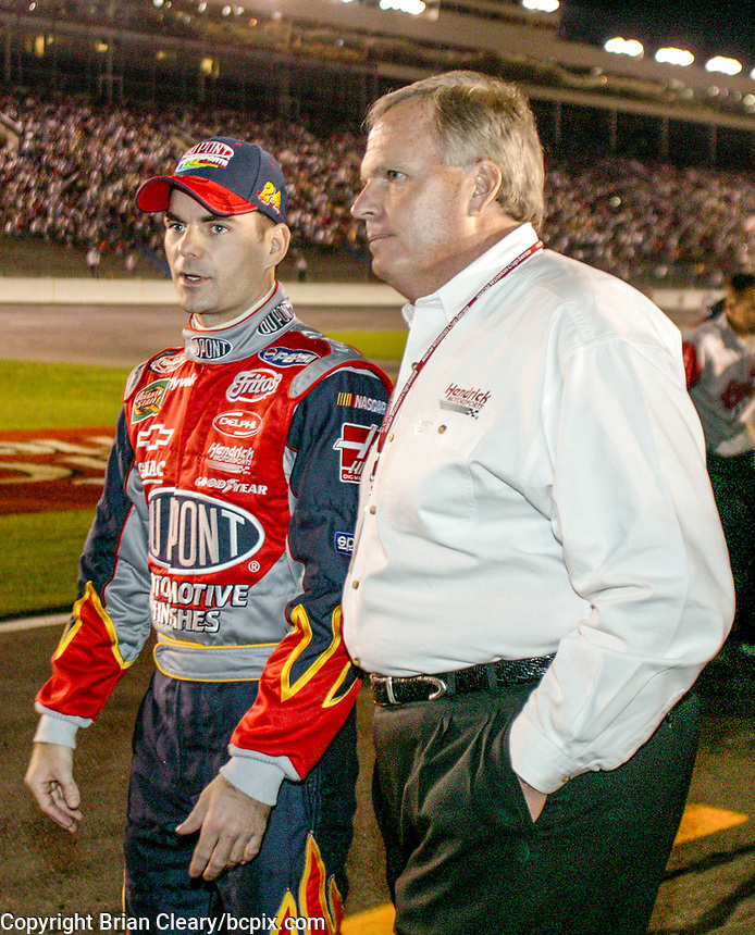 Jeff Gordon, Rick Hendrick, UAW-GM Quality 500, Charlotte Motor Speedway, Charlotte, NC, October 11, 2003.  (Photo by Brian Cleary/bcpix.com)