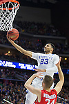 Guard Jamal Murray of the Kentucky Wildcats goes for a layup during the NCAA Tournament first round game against the Stony Brook Seawolves at Wells Fargo Arena on Thursday, March 17, 2016 in Des Moines, Iowa. Photo by Michael Reaves | Staff.
