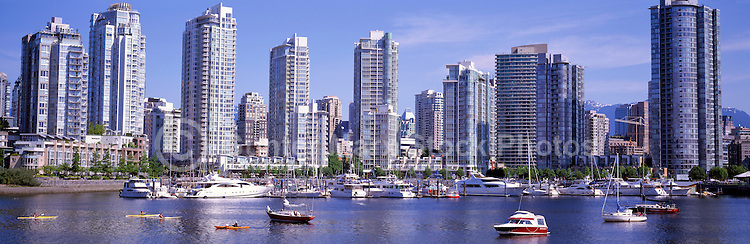 """City of Vancouver Skyline and Downtown at Yaletown and """"False Creek"""", BC, British Columbia, Canada, in Spring - Panoramic View"""