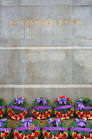 Remembrance Day wreathes at the base of the Victory Square Cenotaph in Victory Square,, Vancouver, BC, Canada