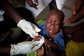 Sick baby being treated at MSF hospital in Central African Republic