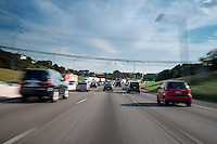Motion blur image of Traffic on I35 highway in Austin, Texas.