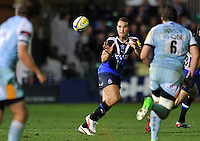 Olly Barkley looks to receive a pass. Aviva Premiership match, between Bath Rugby and Northampton Saints on September 14, 2012 at the Recreation Ground in Bath, England. Photo by: Patrick Khachfe / Onside Images