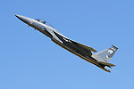 An Oregon Air National Guard F-15 Eagle  of the 173rd Fighter Wing streaks skyward during the 2006 Reno National Championship Air Races. The 173rd Fighter Wing is based at Kingsley Field in Klamath Falls, Oregon. The 173rd Fighter Wing was activated on June 27, 1996. Photographed 09/06